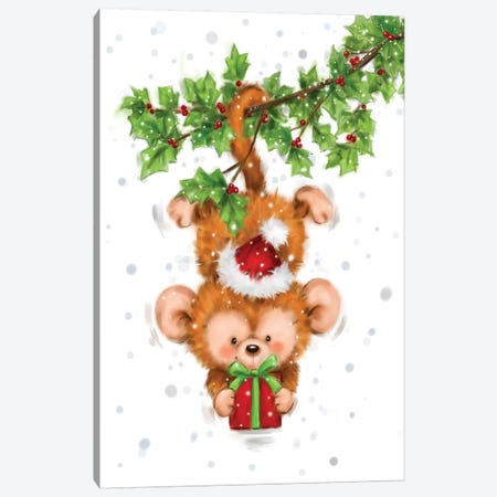 Monkey Christmas Canvas Print #MKK143} by MAKIKO Canvas Wall Art