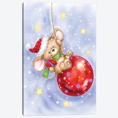 Mouse On Bauble Canvas Print #MKK148} by MAKIKO Canvas Wall Art