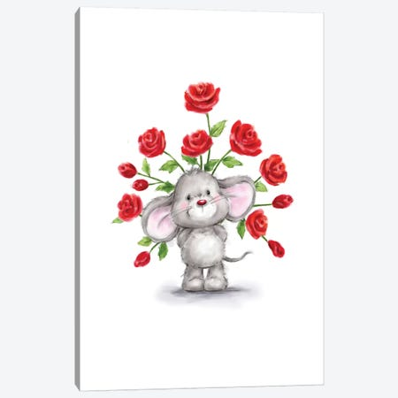 Mouse with Roses 3-Piece Canvas #MKK149} by MAKIKO Canvas Art