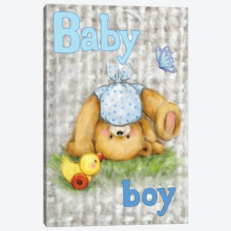 Bear Baby Boy Canvas Print #MKK14} by MAKIKO Canvas Artwork