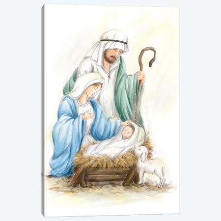 Nativity Jesus baby Canvas Print #MKK150} by MAKIKO Art Print