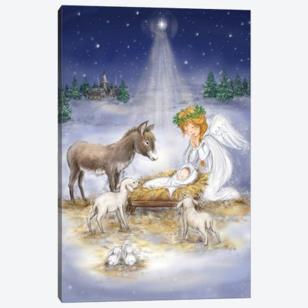 Nativity with angel Canvas Print #MKK151} by MAKIKO Art Print