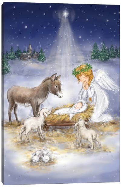 Nativity with angel Canvas Art Print