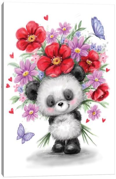Panda with Flowers Canvas Art Print