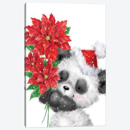 Panda With Poinsettias Canvas Print #MKK153} by MAKIKO Canvas Art Print