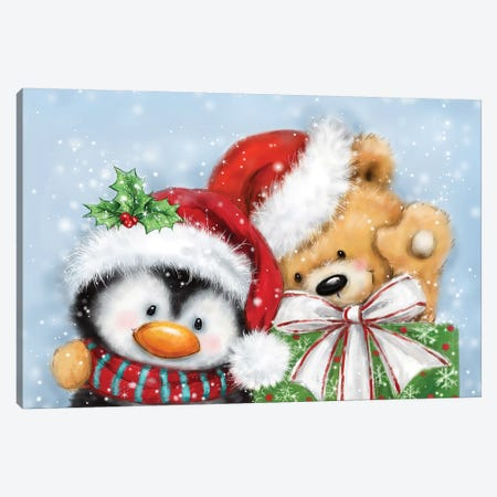 Penguin And Bear Christmas Canvas Print #MKK157} by MAKIKO Canvas Artwork