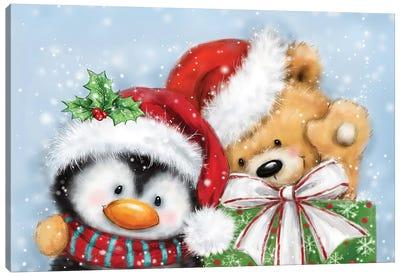 Penguin And Bear Christmas Canvas Art Print