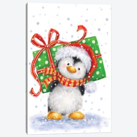 Penguin With Big Present Canvas Print #MKK160} by MAKIKO Canvas Wall Art