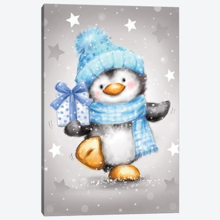 Penguin With Blue Package Canvas Print #MKK161} by MAKIKO Canvas Artwork