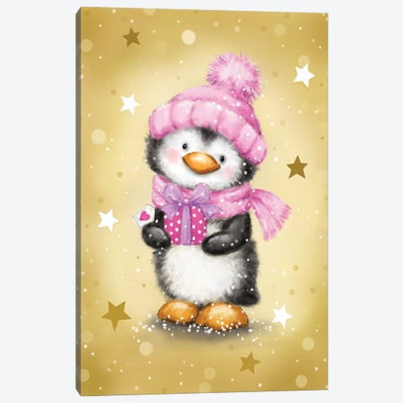 Penguin With Pink Package Canvas Print #MKK165} by MAKIKO Canvas Art Print