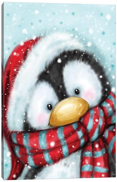 Penguin with Santa s Hat Canvas Art Print