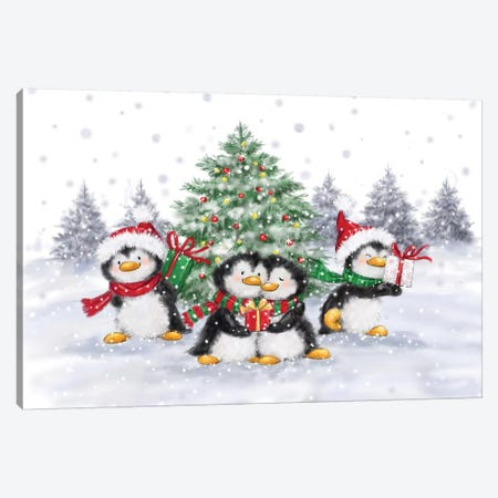 Penguins Christmas Canvas Print #MKK169} by MAKIKO Canvas Wall Art