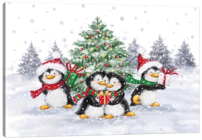 Penguins Christmas Canvas Art Print