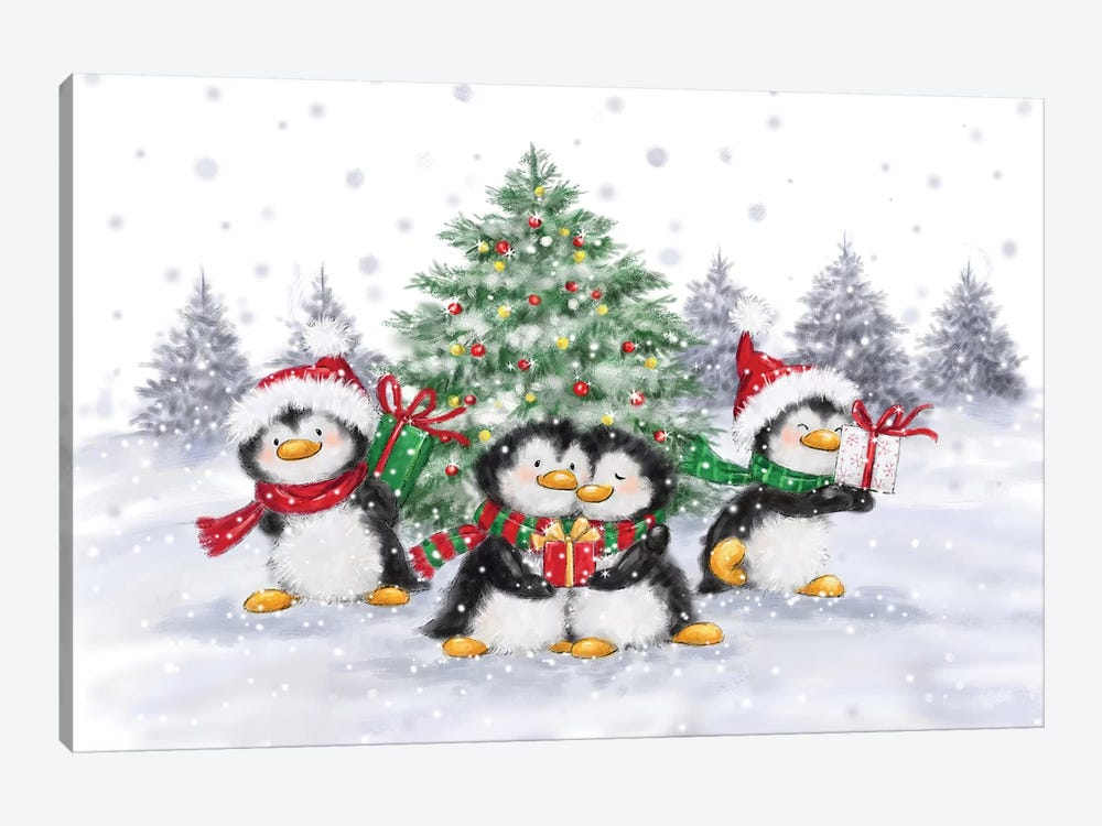 Penguins Christmas by MAKIKO 1-piece Canvas Art Print