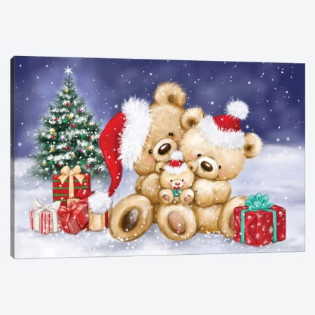 Bear Family in Snowland Canvas Print #MKK16} by MAKIKO Canvas Wall Art