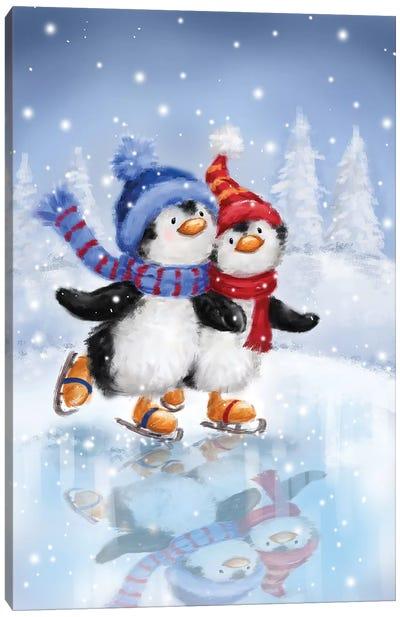 Penguins Skating Canvas Art Print