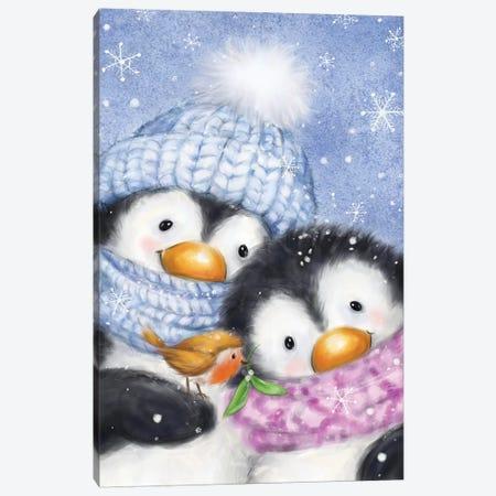 Penguins with Robin Canvas Print #MKK173} by MAKIKO Art Print