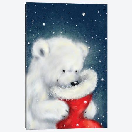 Polar Bear And Christmas Sock Canvas Print #MKK174} by MAKIKO Canvas Art