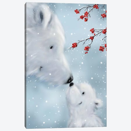 Polar Bear And Cub I Canvas Print #MKK175} by MAKIKO Canvas Wall Art