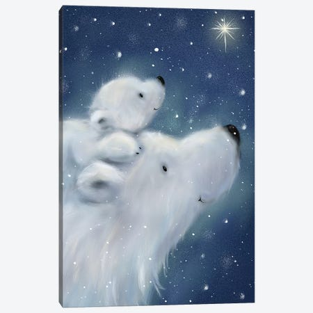 Polar Bear And Cub II Canvas Print #MKK176} by MAKIKO Canvas Wall Art