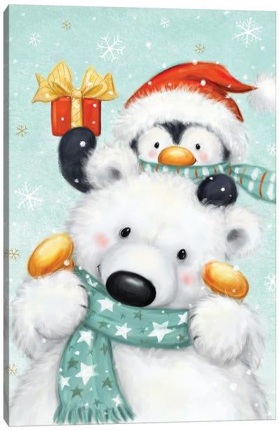 Polar bear and Penguin Canvas Art Print