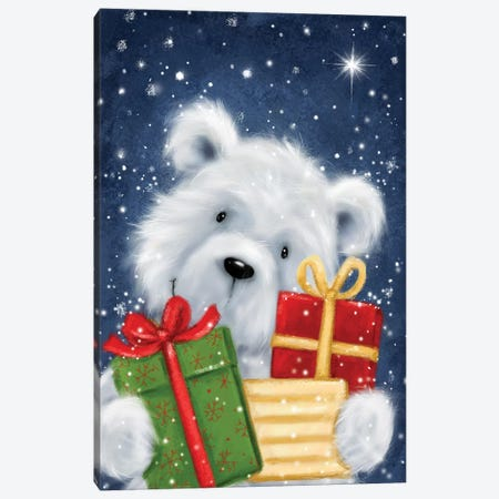 Polar Bear and Presents Canvas Print #MKK178} by MAKIKO Canvas Art Print
