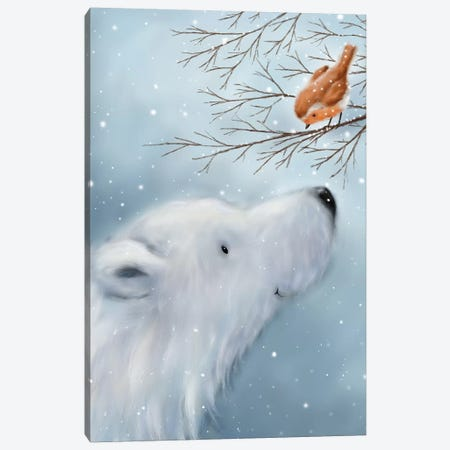 Polar Bear And Robin Canvas Print #MKK179} by MAKIKO Canvas Print
