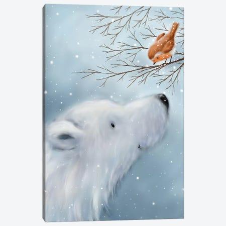 Polar Bear And Robin Canvas Print #MKK179} by MAKIKO Canvas Print