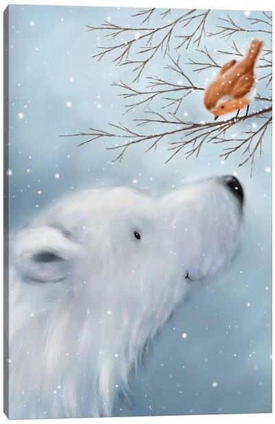 Polar Bear And Robin Canvas Art Print