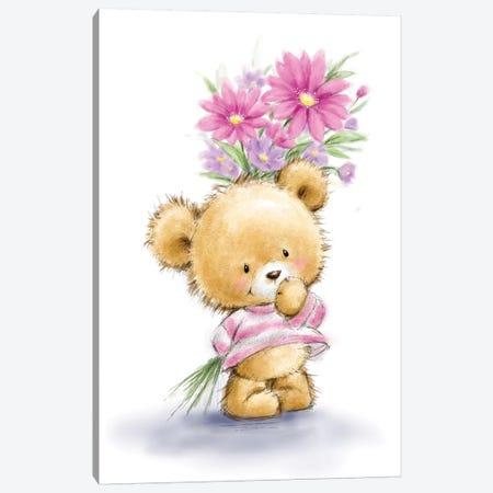 Bear Hold Flowers Canvas Print #MKK17} by MAKIKO Canvas Wall Art