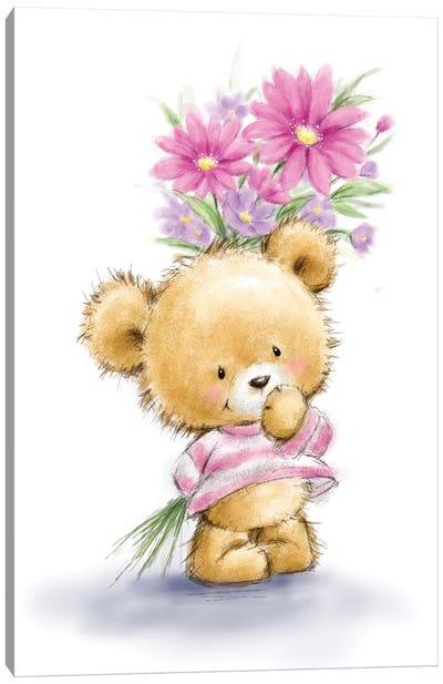 Bear Hold Flowers Canvas Art Print