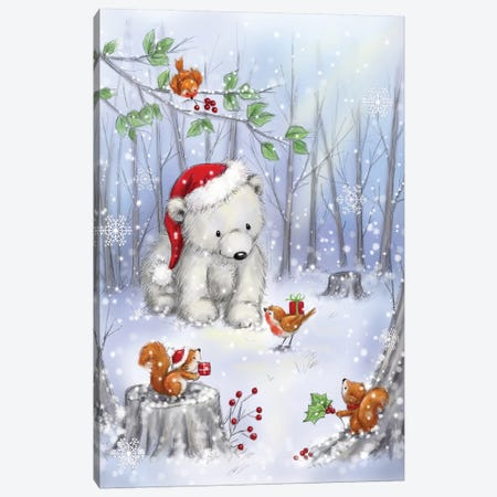 Polar Bear In Wood I Canvas Print #MKK182} by MAKIKO Canvas Artwork