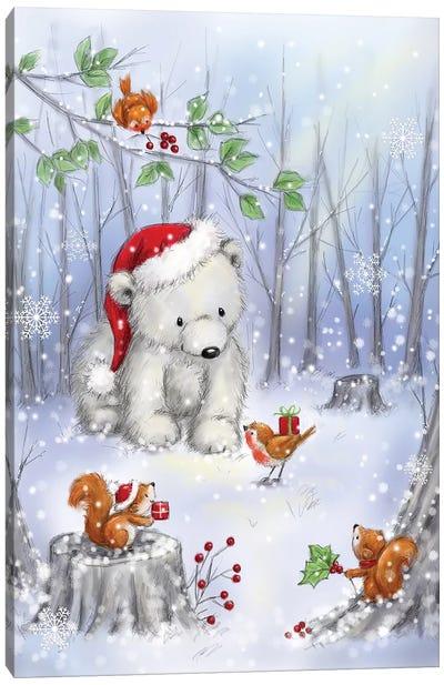 Polar Bear In Wood I Canvas Art Print