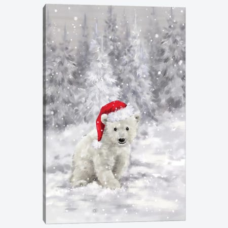 Polar Bear in Wood II Canvas Print #MKK183} by MAKIKO Canvas Wall Art