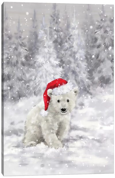 Polar Bear in Wood II Canvas Art Print