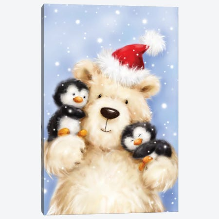 Polar Bear With Penguins Canvas Print #MKK185} by MAKIKO Canvas Print