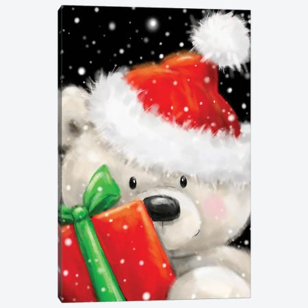 Polar Bear With Present Canvas Print #MKK186} by MAKIKO Canvas Print