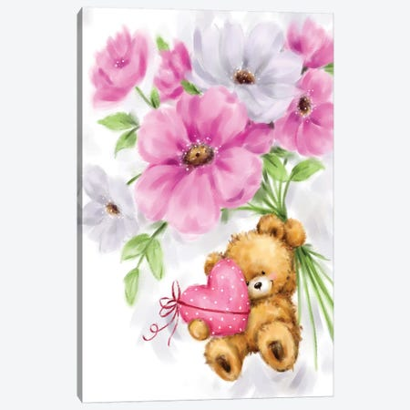 Bear Hung on Flowers Canvas Print #MKK18} by MAKIKO Art Print