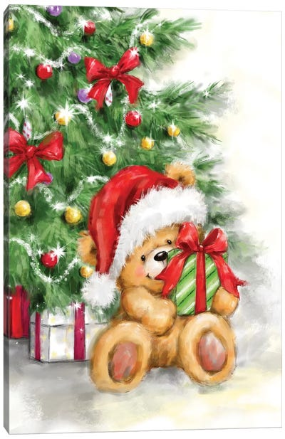 Bear in Front of Christmas Tree Canvas Art Print