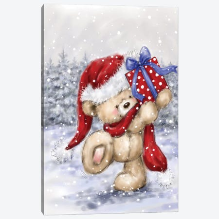 Bear On Snow Scene Canvas Print #MKK1} by MAKIKO Canvas Artwork