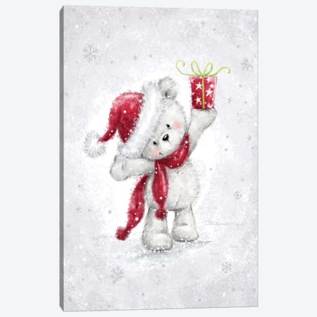 Bear in Snow Canvas Print #MKK20} by MAKIKO Canvas Art