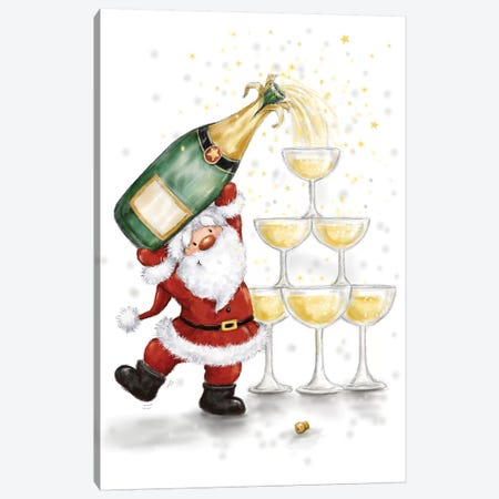 Santa and Glasses Canvas Print #MKK212} by MAKIKO Canvas Art
