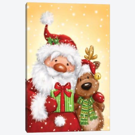 Santa And Reindeer II Canvas Print #MKK214} by MAKIKO Canvas Art Print