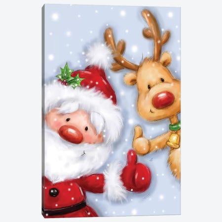 Santa and Reindeer III Canvas Print #MKK215} by MAKIKO Canvas Print