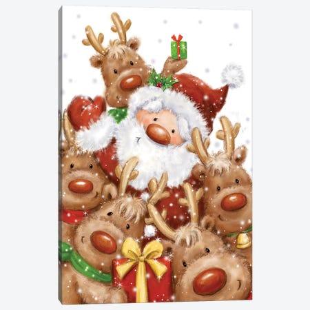 Santa and Reindeers Canvas Print #MKK217} by MAKIKO Art Print