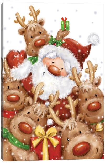 Santa and Reindeers Canvas Art Print