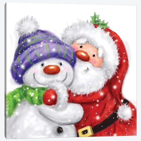Santa And Snowman II Canvas Print #MKK219} by MAKIKO Canvas Art