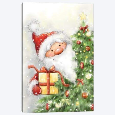Santa Behind Tree Canvas Print #MKK221} by MAKIKO Art Print