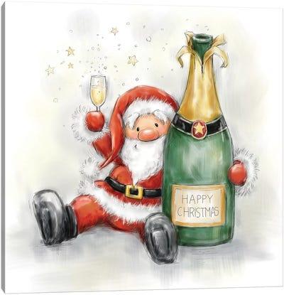 Santa Holding Bottle Canvas Art Print