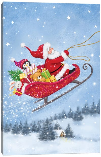 Santa On Sleigh Canvas Art Print
